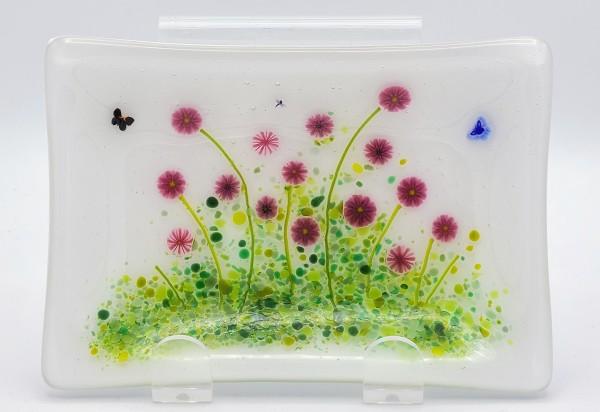 Soap Dish/Spoon Rest-Red Flowers by Kathy Kollenburn