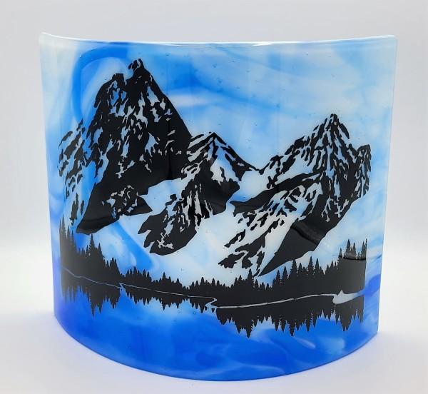 Mountain Lake Curve on blue/White Streaky by Kathy Kollenburn