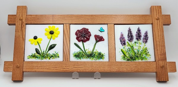 Wall Hanging-3 Floral Panels in Mission Frame by Kathy Kollenburn