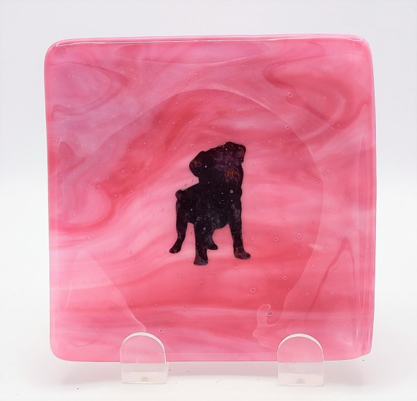 Small Plate-Copper Pug on Pink Streaky by Kathy Kollenburn