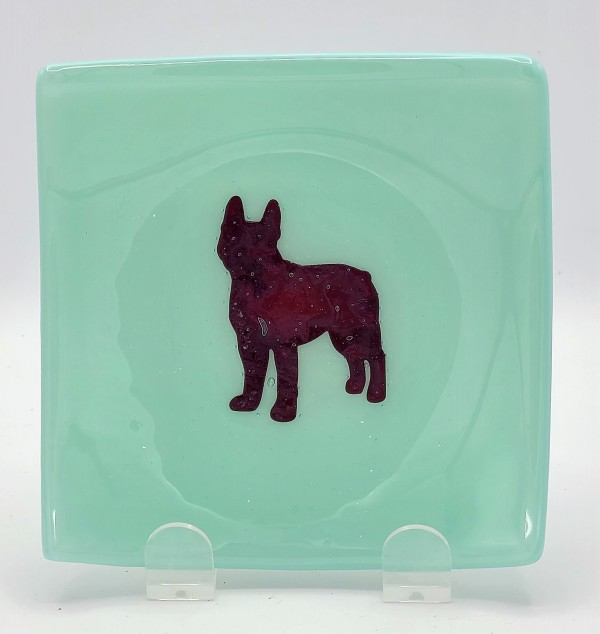 Small Plate-Copper French Bulldog on Robin's Egg Blue by Kathy Kollenburn
