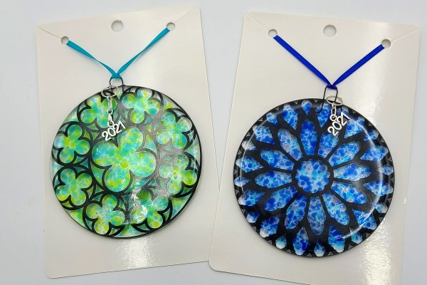 """""""Stained Glass"""" Ornaments (assorted colors) by Kathy Kollenburn"""