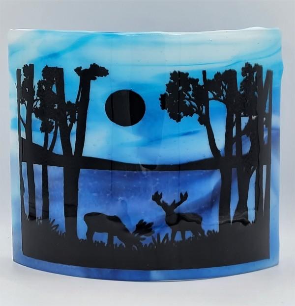 Deer in Moonlight by Lake Curve by Kathy Kollenburn