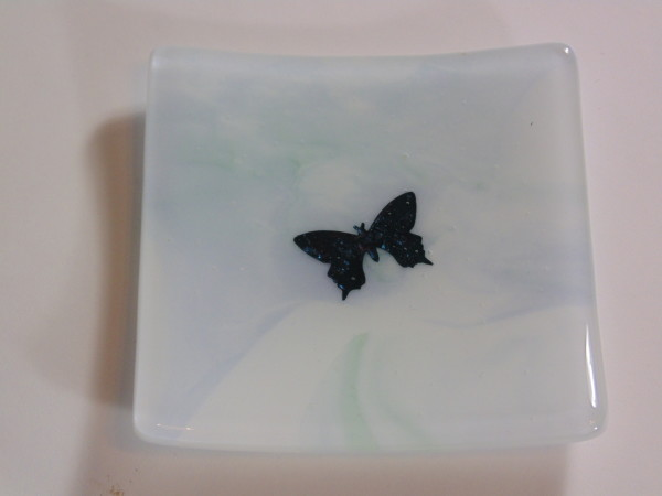 Small dish with copper butterfly by Kathy Kollenburn