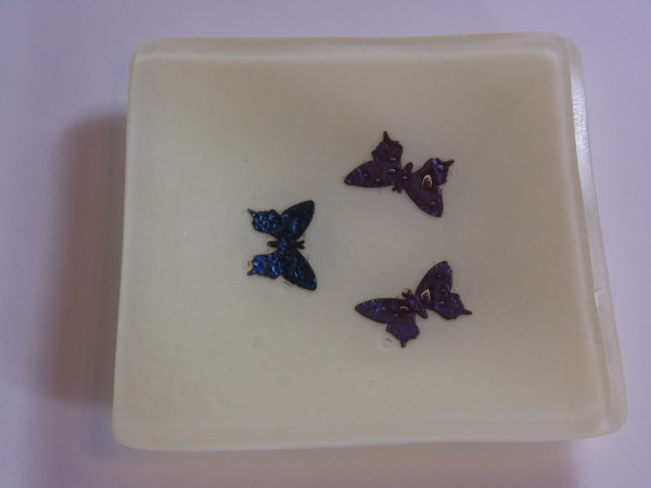 Small dish with 3 copper butterflies-French Vanilla by Kathy Kollenburn
