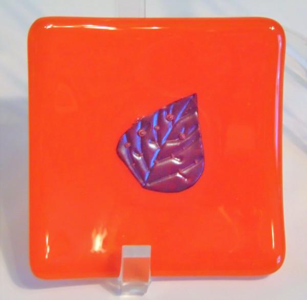 Small plate-Orange with Copper Leaf by Kathy Kollenburn
