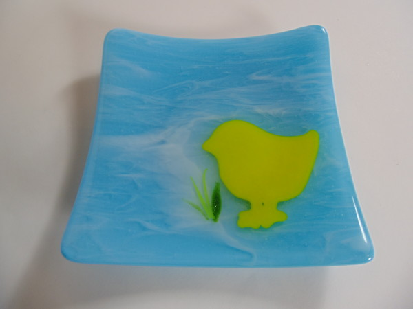 Easter plate-Chick-Cyan with white streaky by Kathy Kollenburn