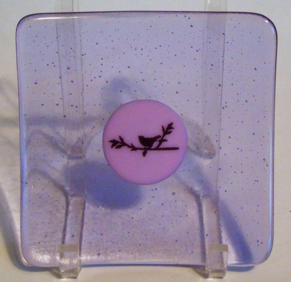 Plate-Neo-Lavender with Pink Bird Decal by Kathy Kollenburn