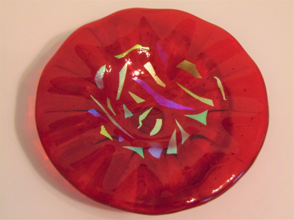 Bird Feeder-Red with Dichroic accents by Kathy Kollenburn