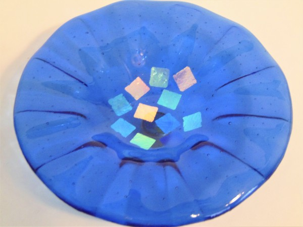 Bird Feeder-Blue with Dichroic Squares by Kathy Kollenburn