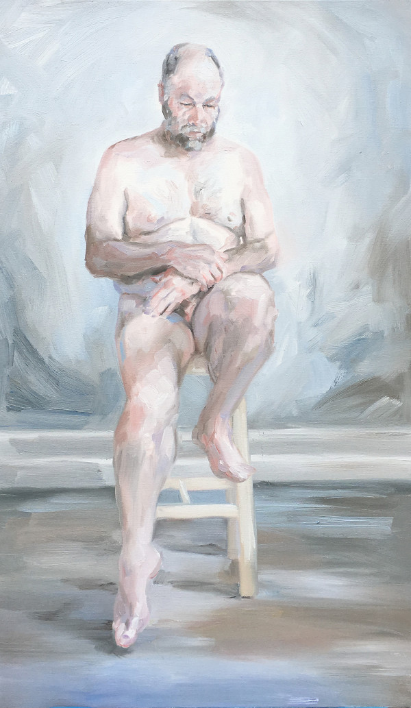 Seated nude, male study by Yvonne East