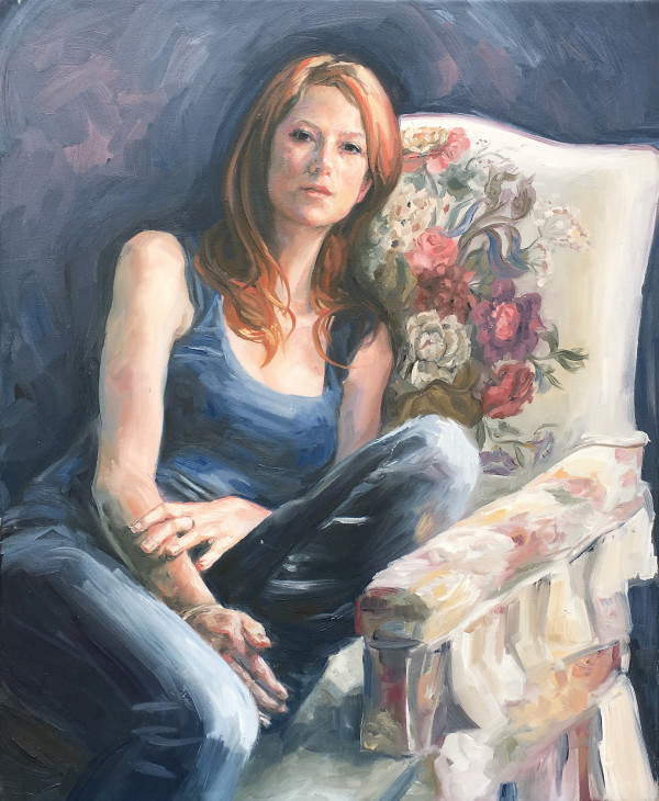 Study of Cherie on floral chair by Yvonne East