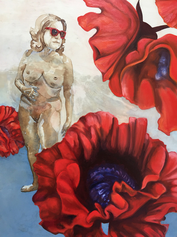 Diana didn't wish to be recognized so she hid among the giant poppies by Annette Nieukerk