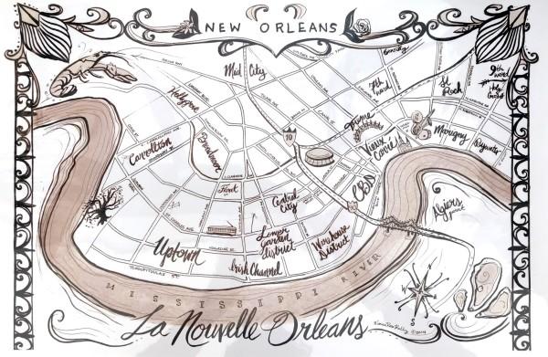 La Nouvelle Orleans (NOLA Map) by Monica Kelly