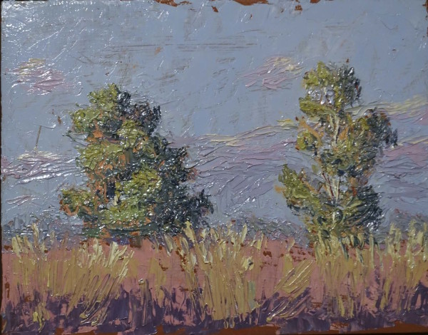 Plein Air Study with 2 Trees by Leslie  Martin