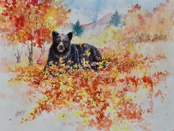 Bear in the Fall Woods by Linda Eades Blackburn