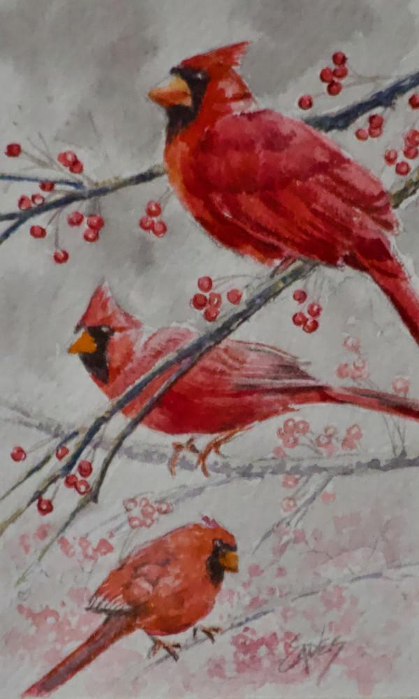 Cardinal Trio by Linda Eades Blackburn