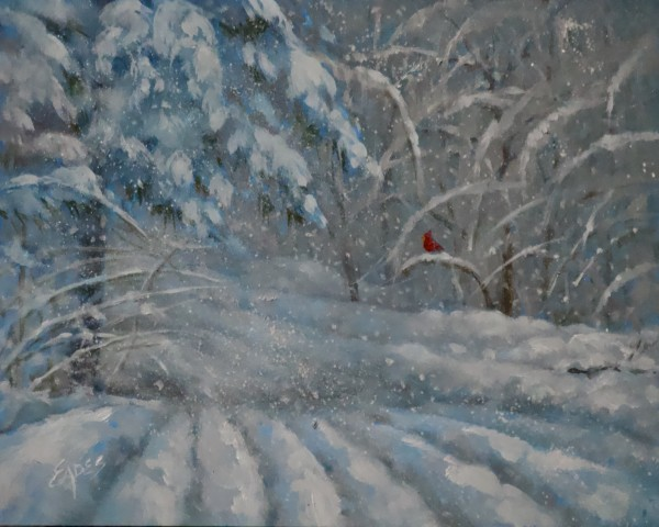 Cardinal on the Snowy Road Home by Linda Eades Blackburn