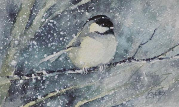 Chilly Chickadee WC by Linda Eades Blackburn