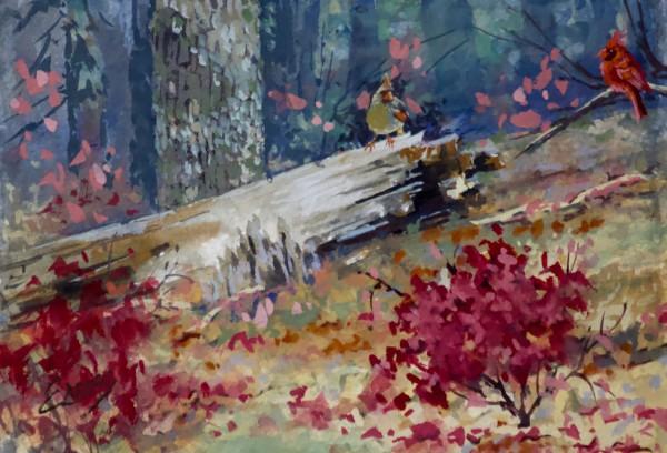 Fall Cardinals Gouache by Linda Eades Blackburn