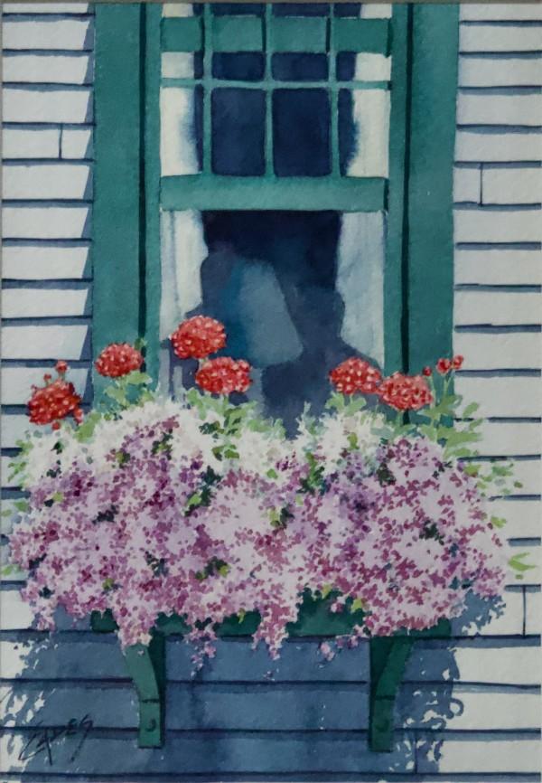 Flowers in the Window Box by Linda Eades Blackburn
