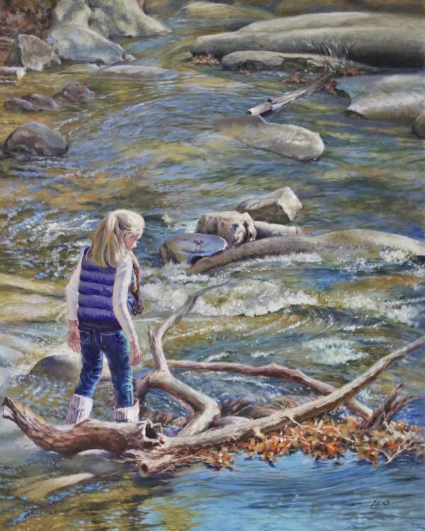 Lawson at Sliding Rock by Linda Eades Blackburn