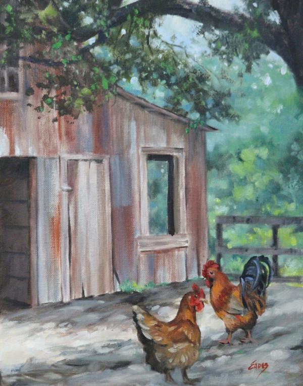 Old Barn with Chickens by Linda Eades Blackburn