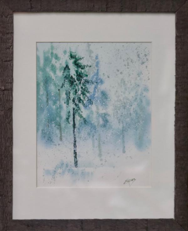 Pines in a Snow Storm by Linda Eades Blackburn