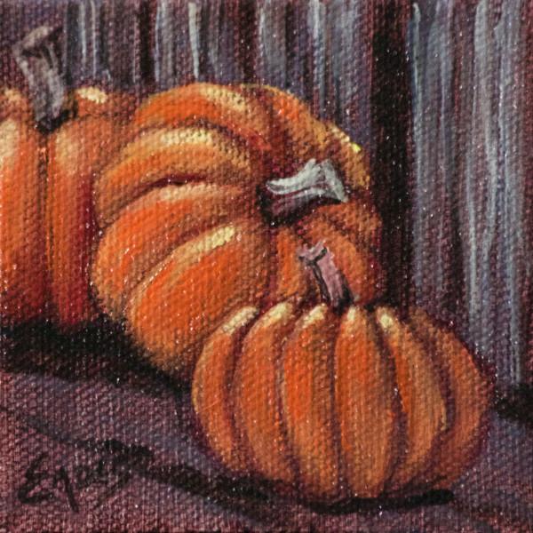 Pumpkins on the Shelf by Linda Eades Blackburn