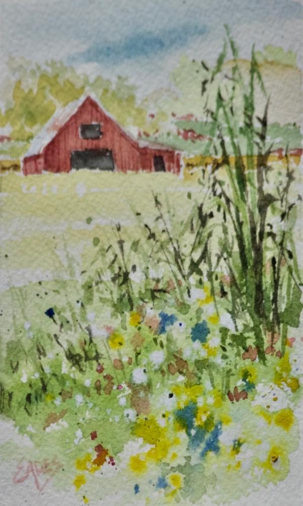 Red Barn and Wildflowers by Linda Eades Blackburn