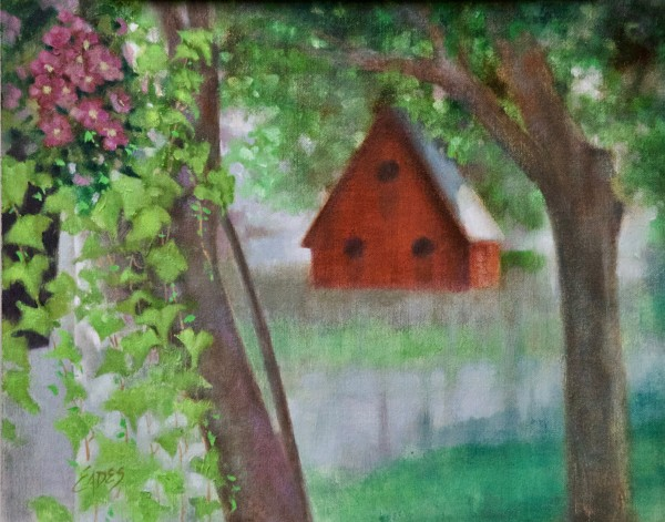 Red Birdhouse by Linda Eades Blackburn