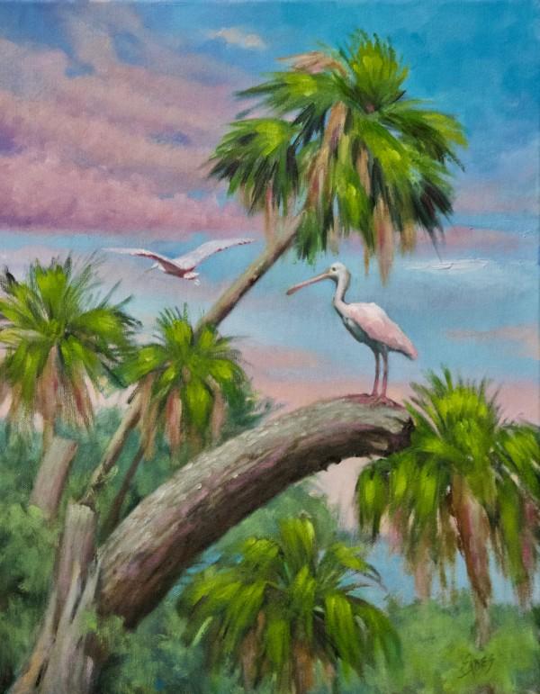 Spoonbills and Palms by Linda Eades Blackburn