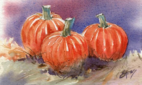 Three Picked Pumpkins by Linda Eades Blackburn