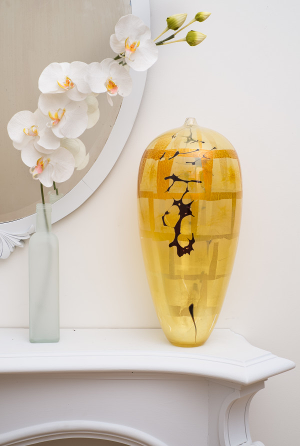 Yellow/Black Tall Amphora by Fred Kaemmer