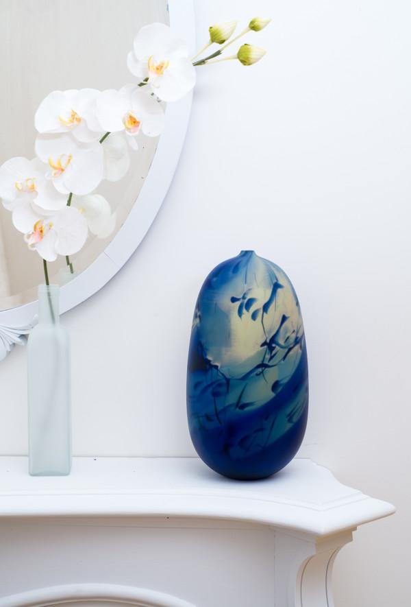 Matte Medium Blue Swirl Vase by Fred Kaemmer