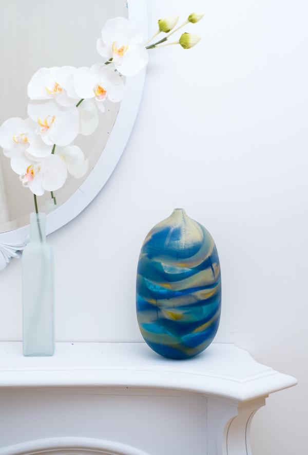 Matte Small Blue Swirl Vase by Fred Kaemmer