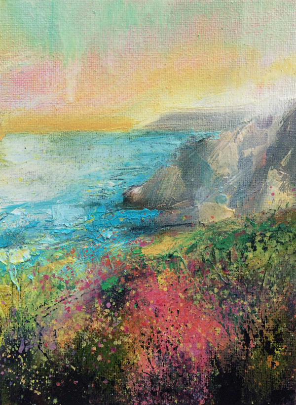 Porthtowan Clifftop Sunset Study by Rachel Painter