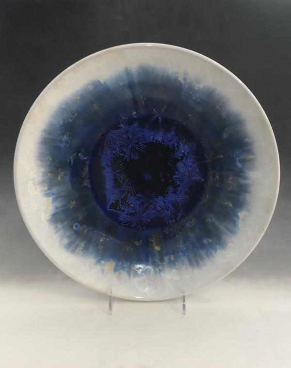 Large Blue w/White Edge Bowl by Nichole Vikdal