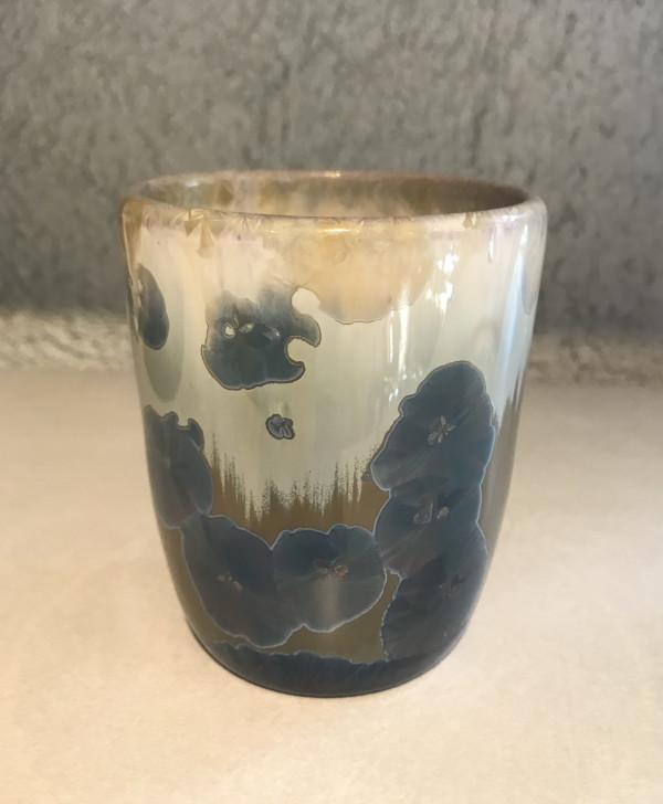 Brown /w white and blue crystal cup by Nichole Vikdal