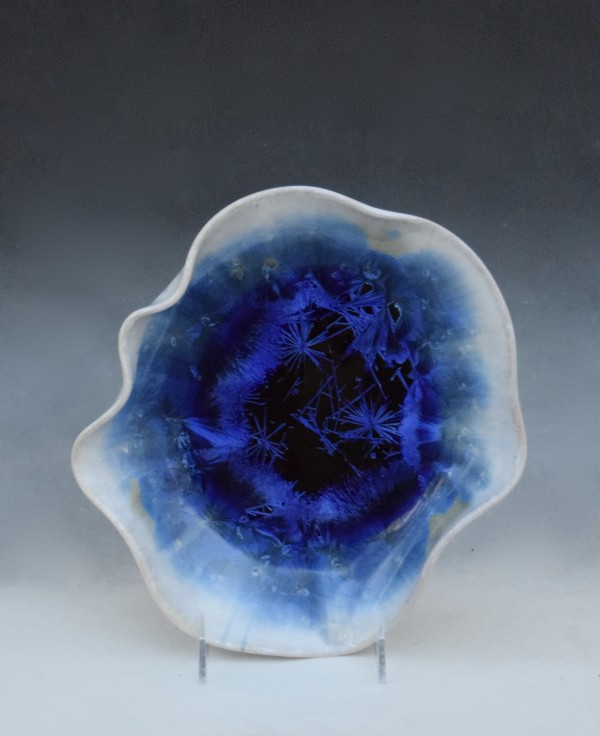 Blue with White  Sculpture Bowl by Nichole Vikdal
