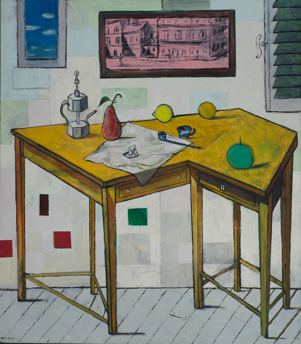 Table with Charcoal Drawing. by John F. Marok