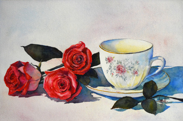 Teacup and Roses I by Judy Mudd