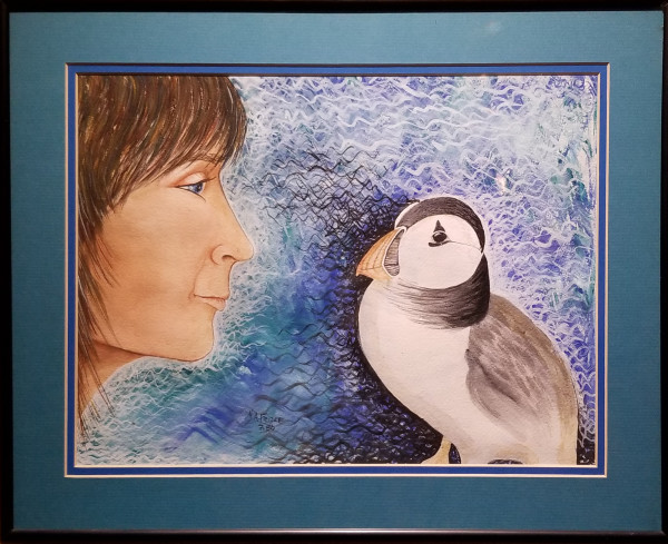 Girl and Puffin by Adrienne Fritze