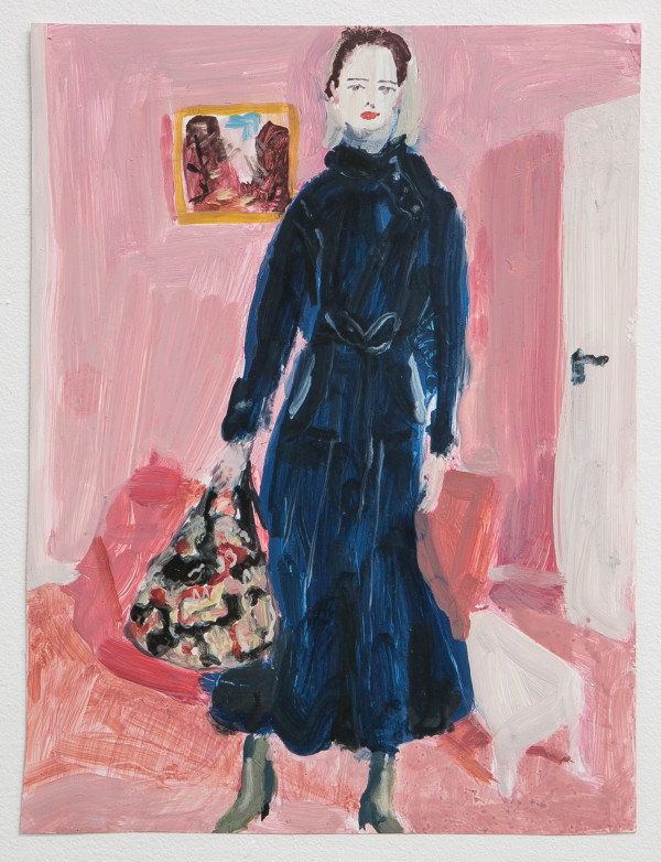 "Untitled, from the ""Fashion"" series (blue-black coat on pink background with picture behind, ME07) by Mari Eastman"
