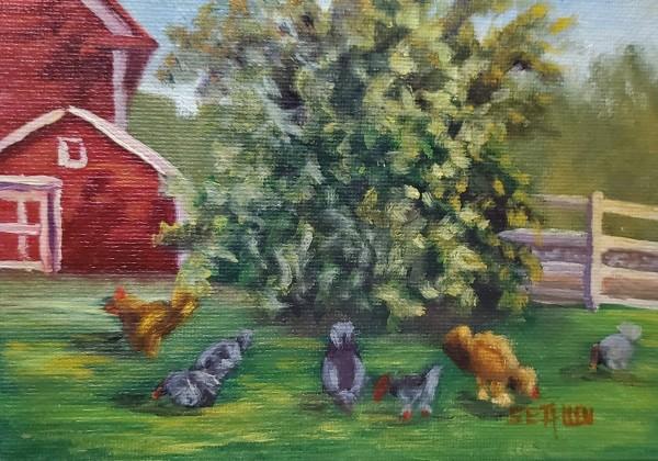 Susan's Hens by Sharon Allen