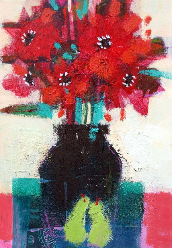 Red Flowers & Green Pears 2 by francis boag