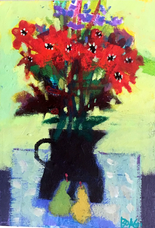 Black vase, red Flowers by francis boag