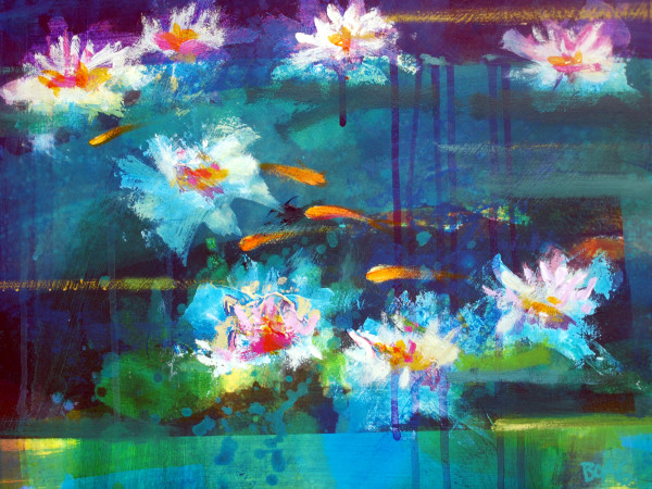Waterlilies and Goldfish by francis boag