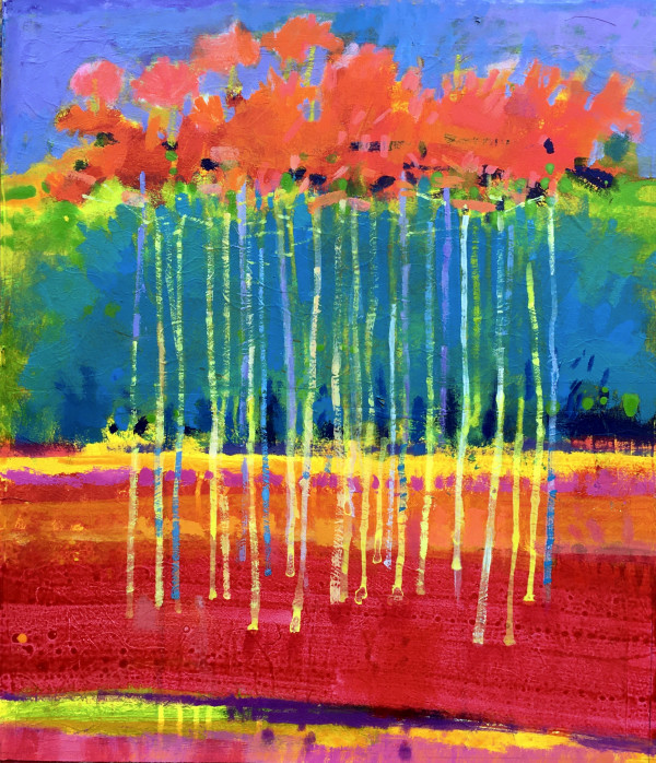 Blue Trees, Pink Birches by francis boag