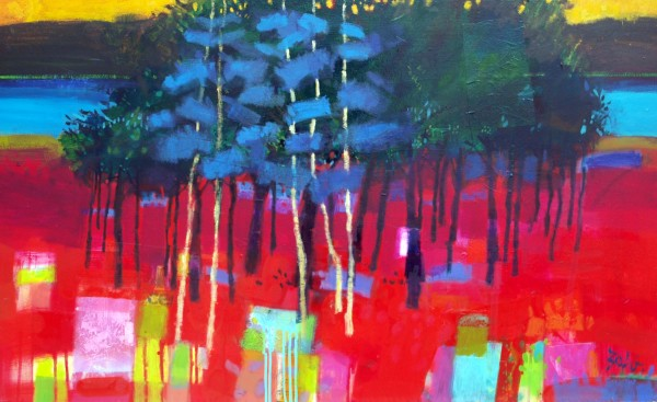 Blue trees, River Spey by francis boag